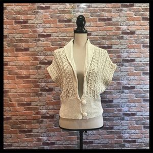 Anthro Chunky Knit Short Sleeve Cardigan
